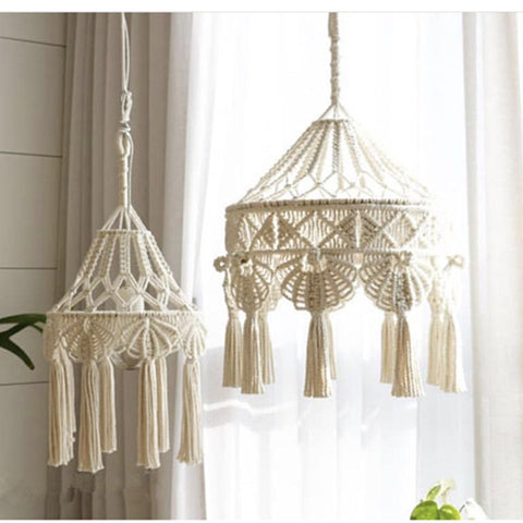 Bohemian Macrame Wall Hanging Ins Style Hand-woven Tapestry Girl Heart Bedroom Living Room Nordic Chandelier Cover Decoration