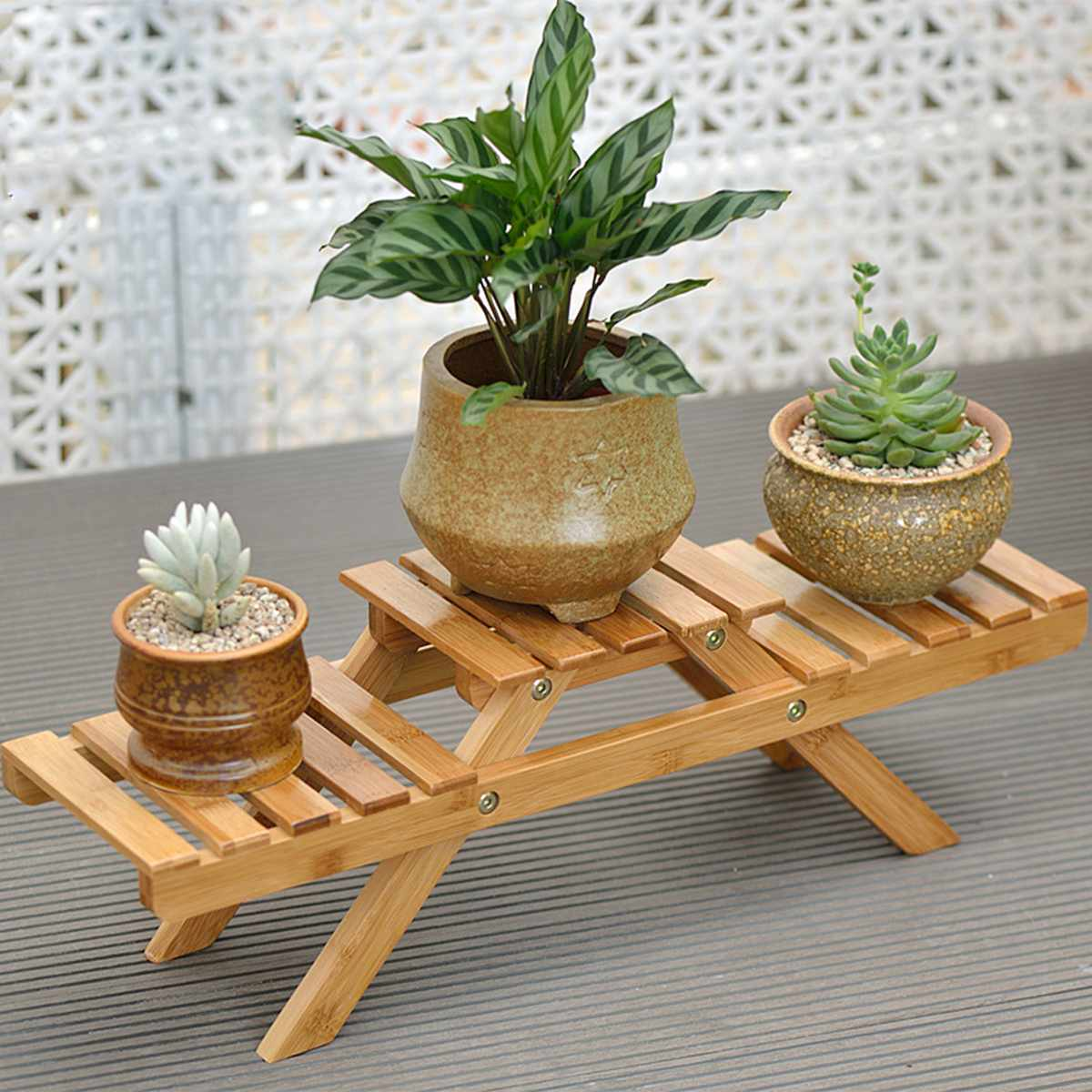 Plant Shelves Flower Garden Rack Stand Flower Display Stand Bamboo Display Stand