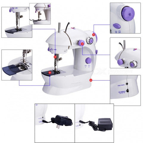 Mini Handheld Sewing Machine Dual Speed Double Thread - White + Purple