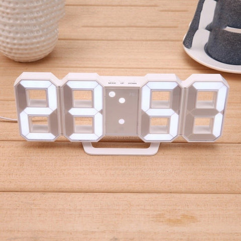 8 Shaped USB Digital Table Clocks Wall Clock LED Display Creative Watches 24&12-Hour Display Home Decoration Christmas Gift White