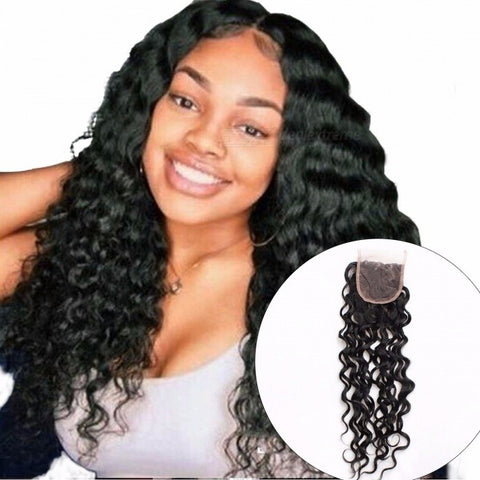 Malaysian Water Wave Lace Closure With Baby Hair, 100% Human Hair Free Middle Three Part Closure, Non Remy Hair 8inchesMiddle Part