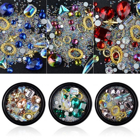 Shiny Crystal Nail Rhinestone AB Diamond Flat Back Stone Glitter Glass Charm Nail Art Decoration Green