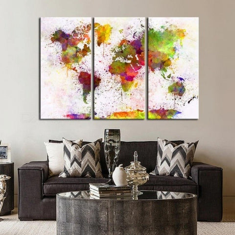 3 Panels Decorative Prints Large Wall Poster World Map Fashion Art Custom Canvas Prints With Colorful No Frame/20x40cm x3