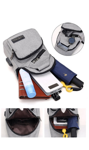 Male Shoulder Bag with USB Charge Station