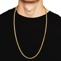 Men's Titanium Twist Chain Long Necklace