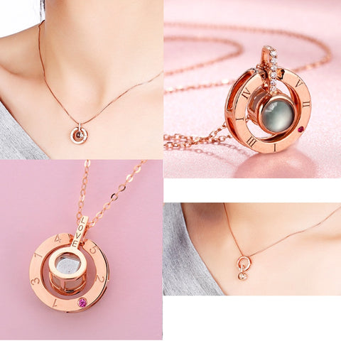 Multi-language Romantic Projection Pendant Necklace