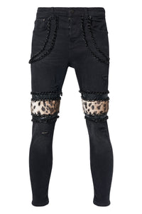 LEOPARD Black Trousers