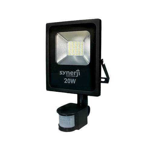 SYNERJI 20W Daylight Slim LED with Motion Sensor Floodlight