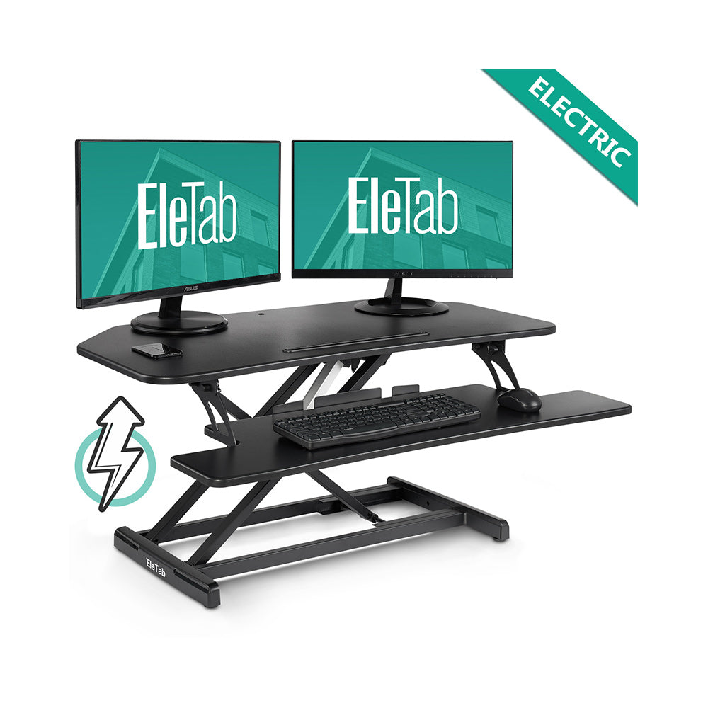 "EleTab Electric Standing Desk Converter 37"" Fits Dual Monitor ELTAD-SD10B-EM"