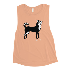 Ladies' Muscle Tank - Pawprints Collection - Classic Dog