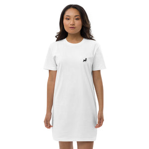 Organic Cotton T-Shirt Dress - Pawprints Collection - Embroidered Dog & Crown