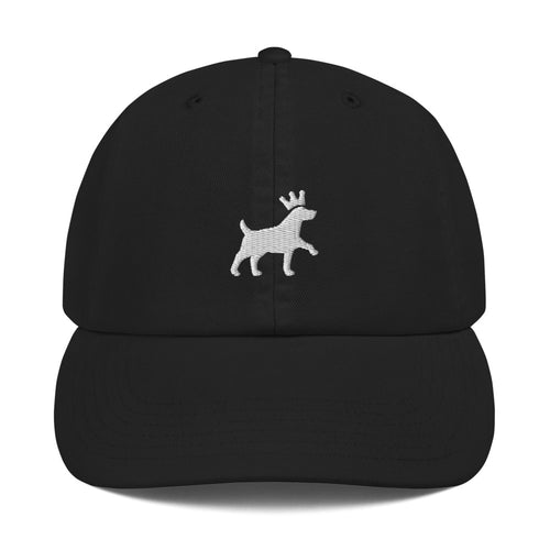 Champion Dad Cap - Pawprints Collection - Embroidered Dog & Crown - White Embroidery