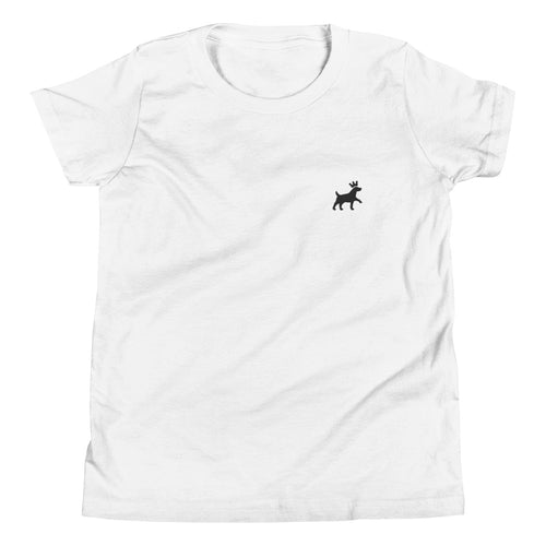 Youth Short Sleeve T-Shirt - Pawprints Collection - Embroidered Dog & Crown - Black Embroidery