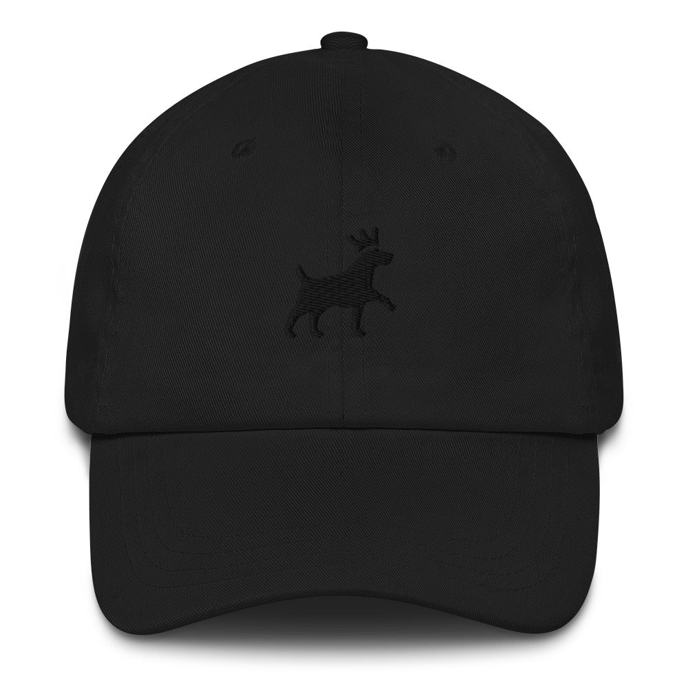 Classic Dad Hat - Pawprints Collection - Embroidered Dog & Crown - Black Embroidery