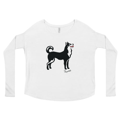Ladies' Flowy Long Sleeve Tee - Pawprints Collection - Classic Dog