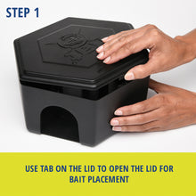 Load image into Gallery viewer, RatX® Large Bait Station steps. Step 1: Use tab on the lid to open the lid for bait placement