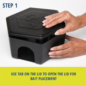RatX® Large Bait Station steps. Step 1: Use tab on the lid to open the lid for bait placement