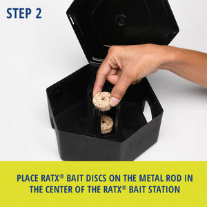 RatX® Small Bait Box. Step 2: Place RatX® Bait Discs on the metal rod in the center of the RatX® Bait Station