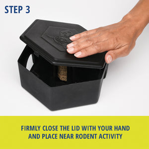RatX® Large Bait Station steps. Step 3: Firmly close the lid with your hand and place near rodent activity