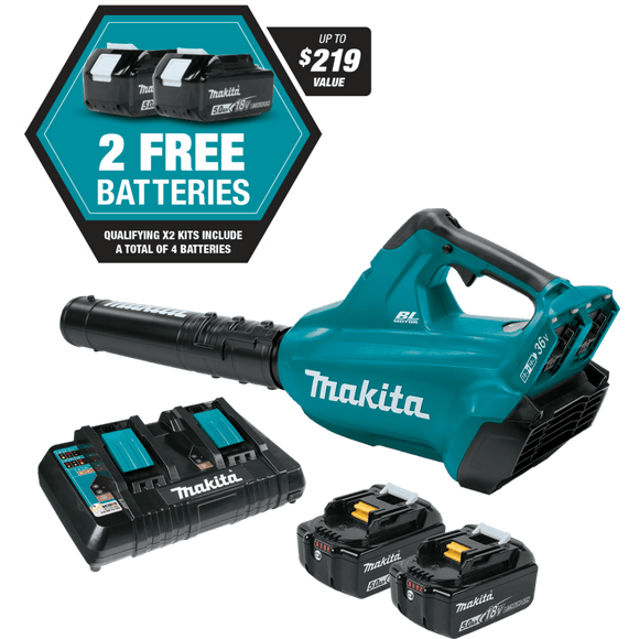 Makita Cordless Blower, 18V X2 (36V), 4 Battery Kit - XBU02PT1