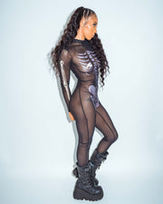 Long Sleeve Mesh Metallic Skeleton Catsuit