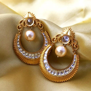 Light Ethnic Fancy Party Free Gold Plated Drop and Dangle Pearl Earring
