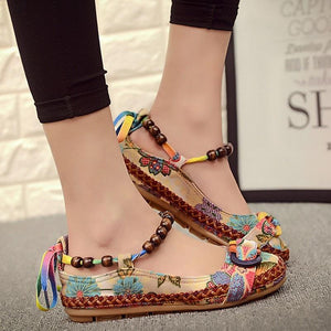 Top quality Casual Flat Shoes Women Flats Handmade Beaded Ankle Straps Loafers Retro Ethnic Embroidered Shoes