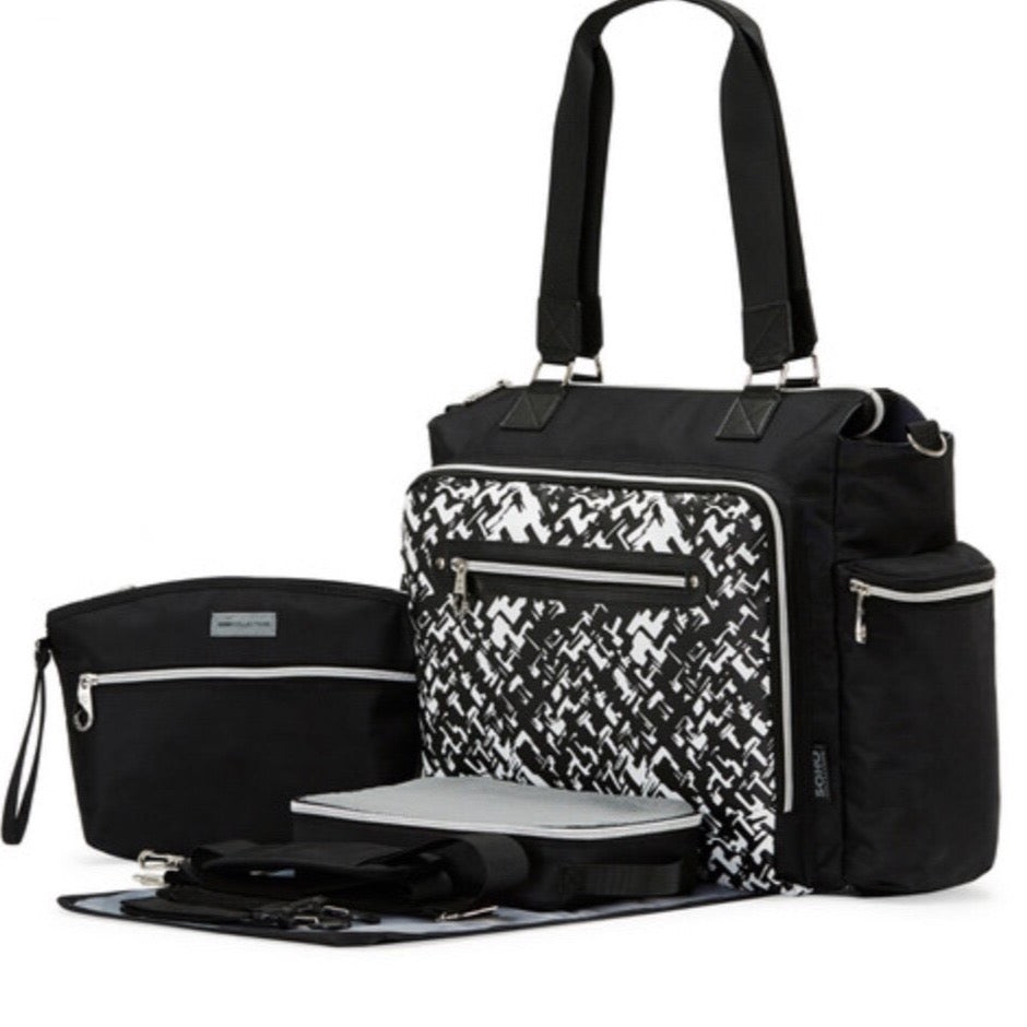 6-piece Black & White Tote Diaper Bag