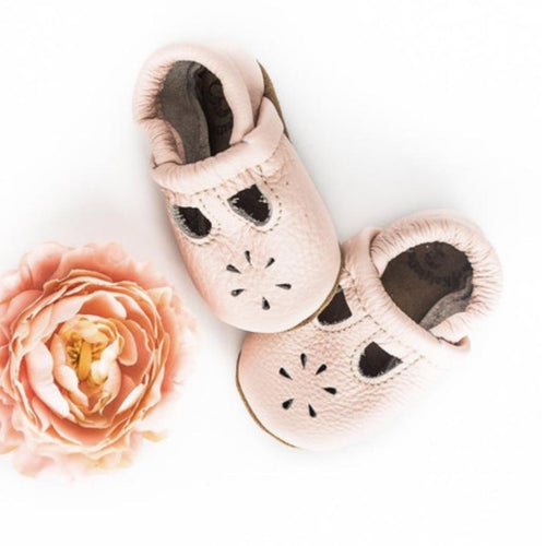 Rose Blush T-strap - Leather & Suede Baby Soft Sole Shoes