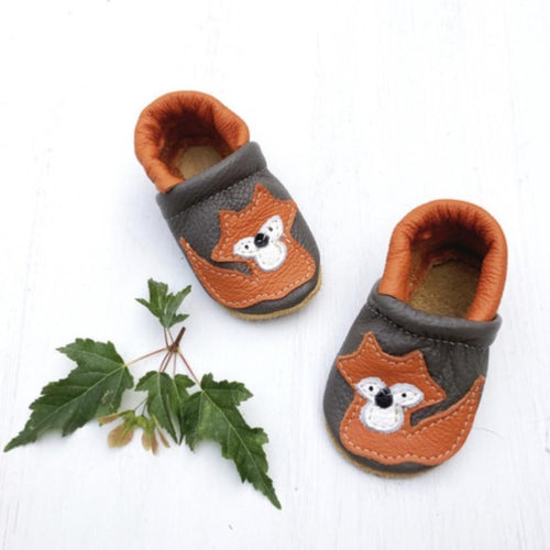 Orange Fox - Leather & Suede Baby Soft Sole Shoes