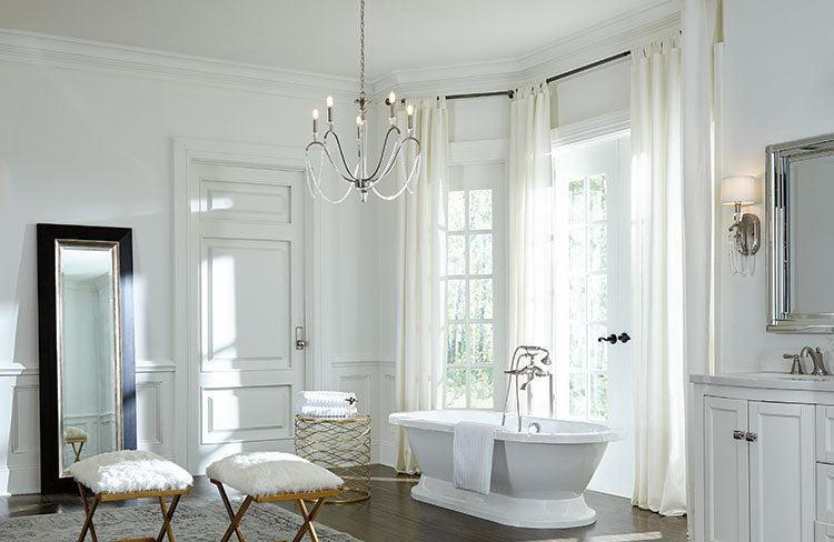 Traditional or Island Chandelier in the Bath
