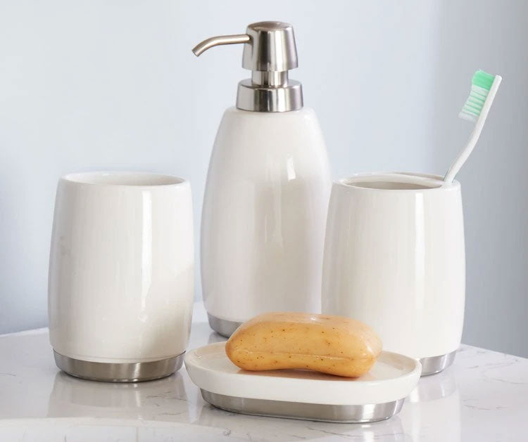 Toothbrush holder, soap dish, tumblers, lotion dispenser