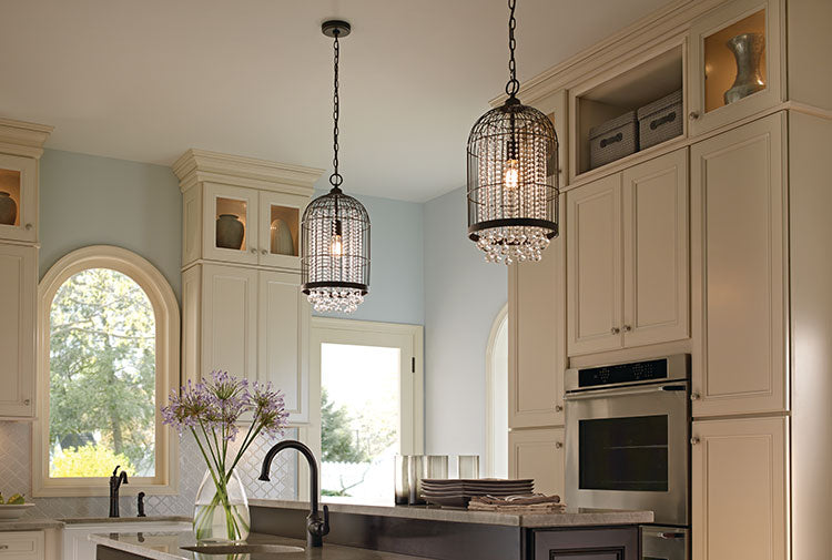 An easy way to update your kitchen is replacing your lighting.