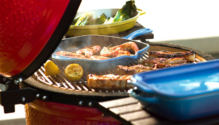 Le Creuset Cast Iron Pan on the Grill