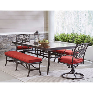 TRADDN5PCSW2GBN-RED Outdoor/Patio Furniture/Patio Dining Sets