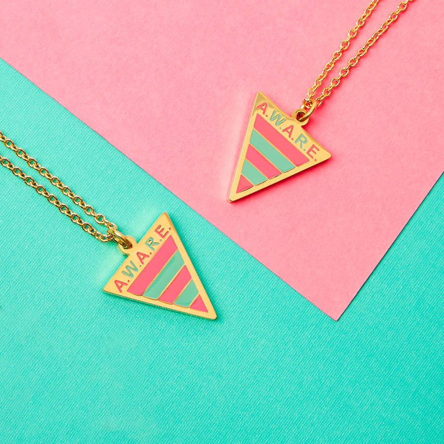 Pink and Teal Aware Necklaces