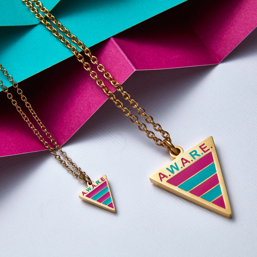 Dainty Pink and Teal Aware Necklaces