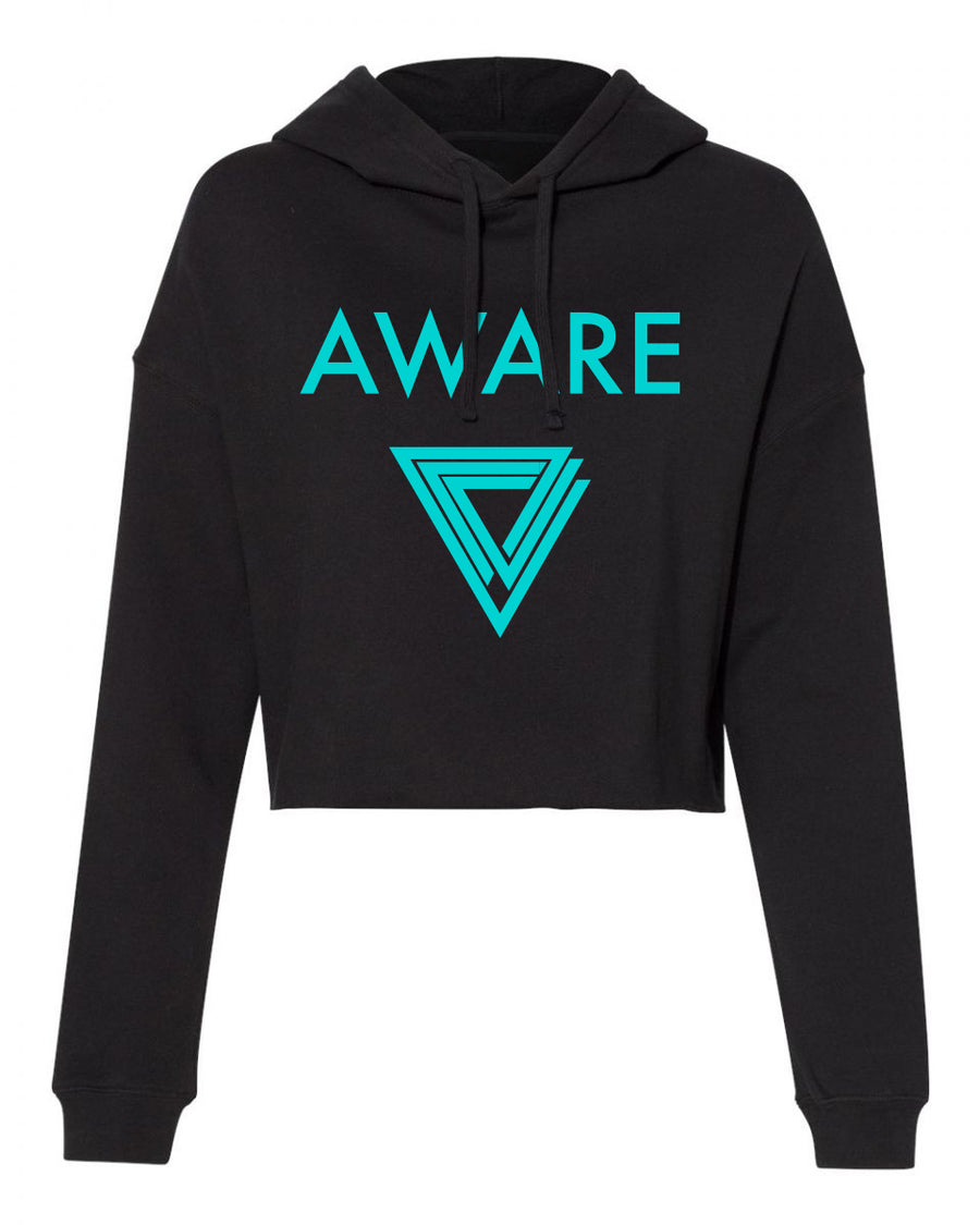 Teal AWARE Crop Top Hoodies
