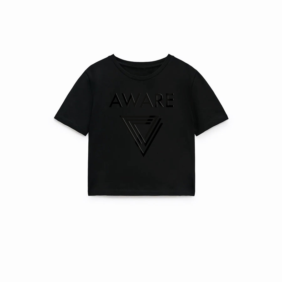 Black AWARE Crop Top T-Shirts