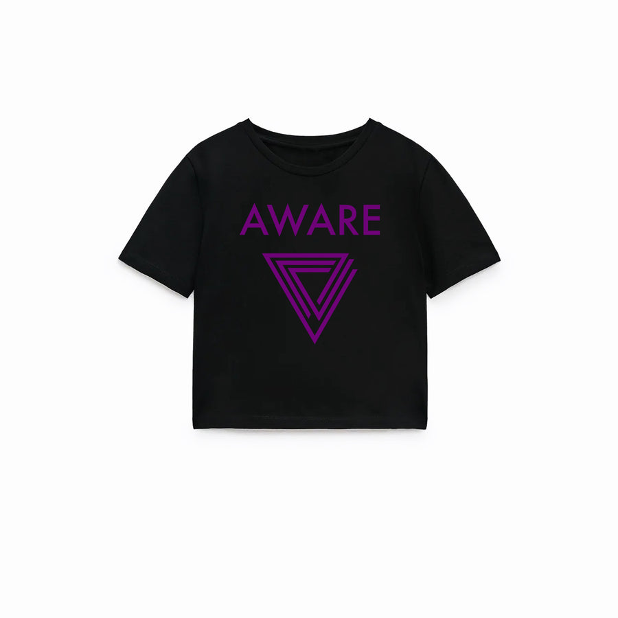 Purple AWARE Crop Top T-Shirts
