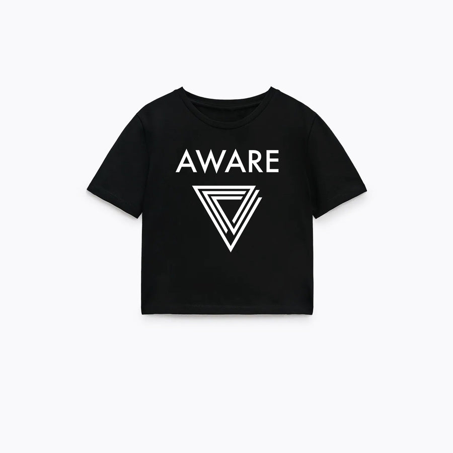 White AWARE Crop Top T-Shirts