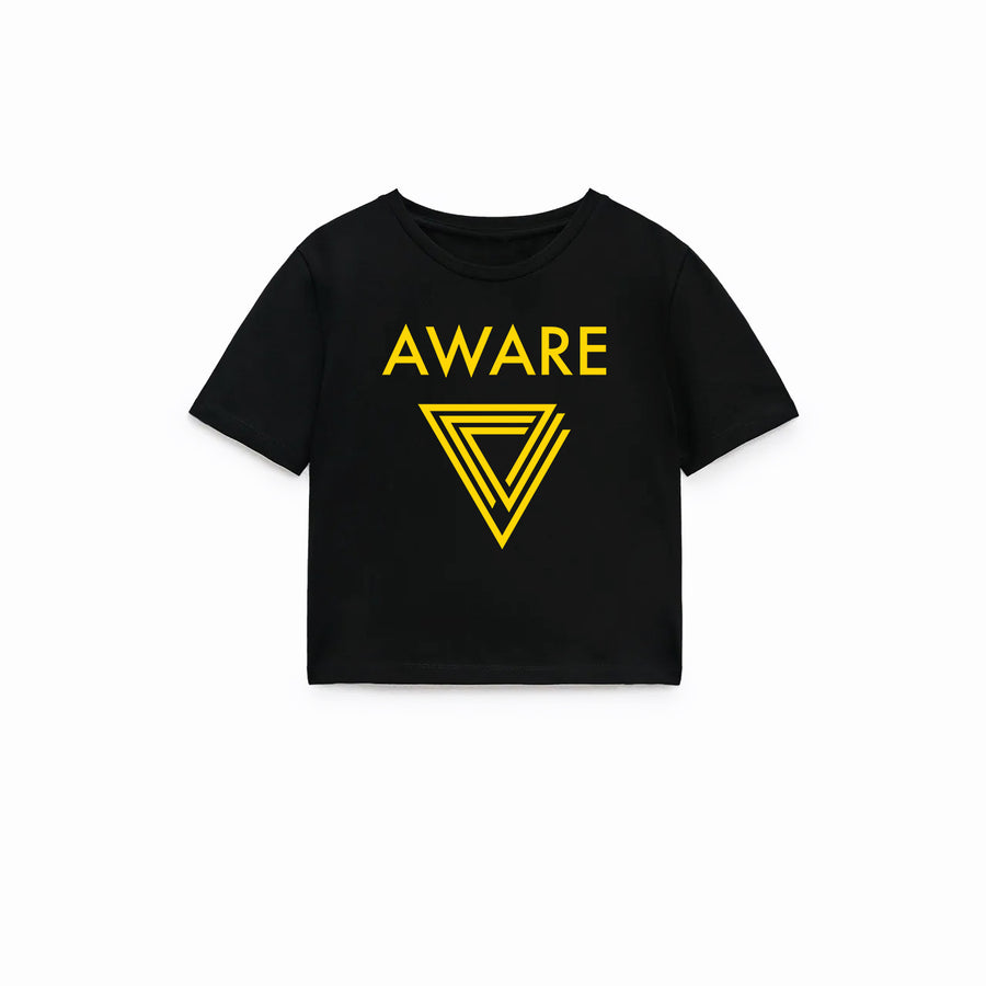 Yellow AWARE Crop Top T-Shirts