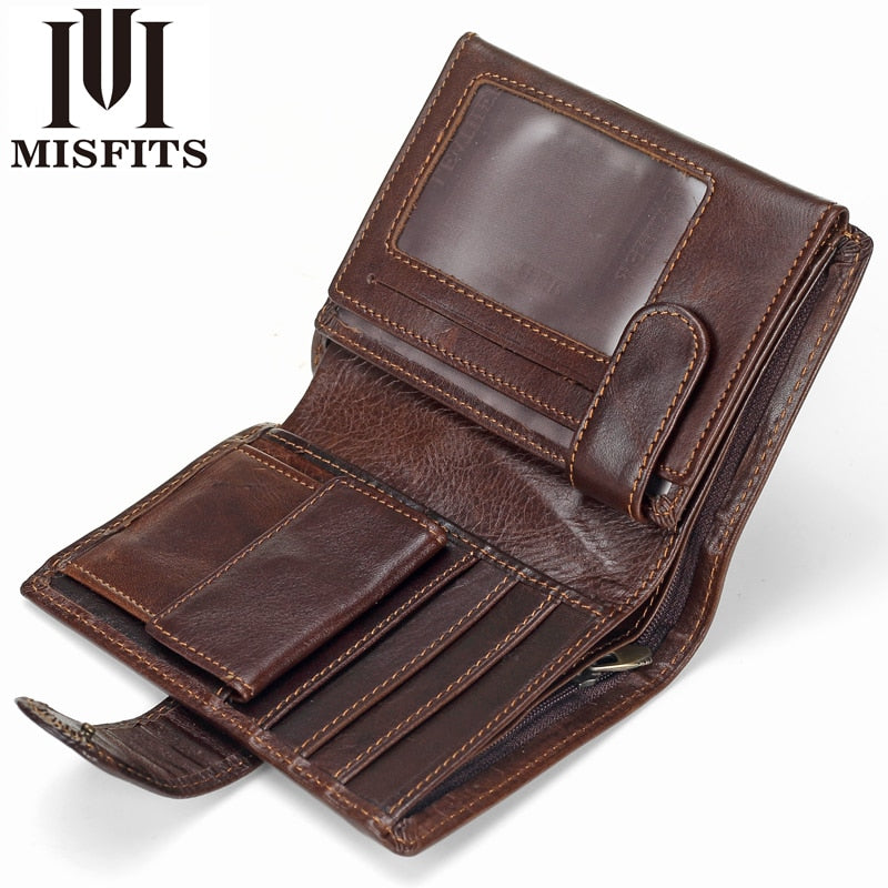 Men Wallet Genuine Leather Short Wallets