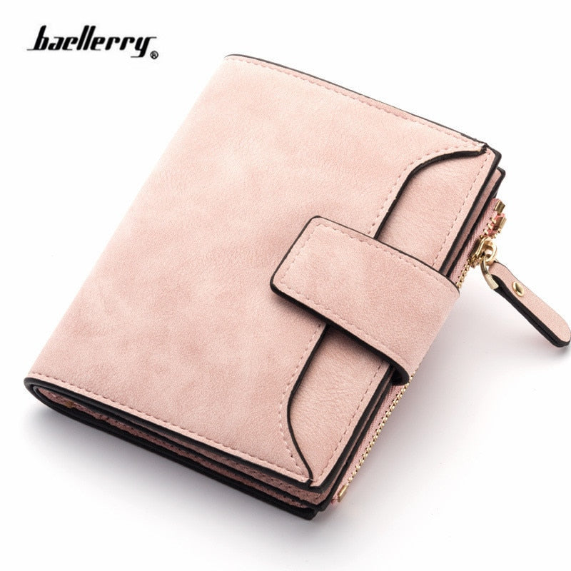 Leather Women Wallet Hasp Small and Slim Coin Pocket