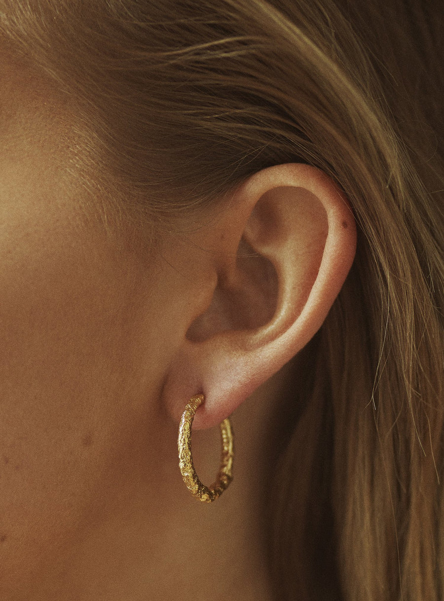 Big Gold Hoops on model