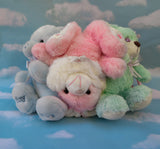 Plush bear bag - Pastel bears and bunny