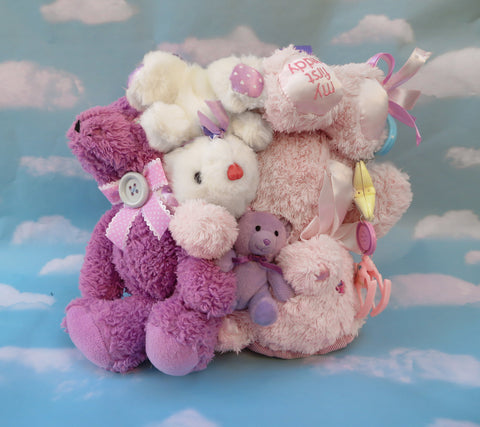 Plush bear bag - Purple and pink bears