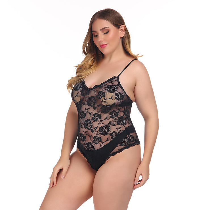 Plus Size Rose Design French Sexy Lingerie Bodysuit - Expecto.shop