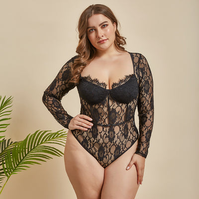 Plus Size Long Sleeve Sexy Lingerie Bodysuit - Expecto.shop