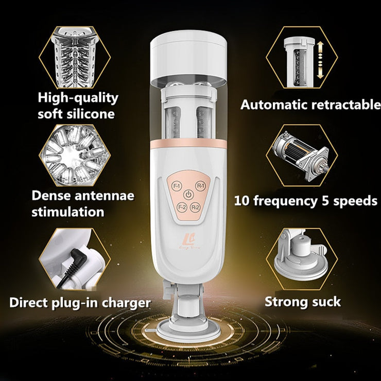 EASY.LOVE Handsfree Automatic Male Masturbato Air Float Suck Rotate Retractable Sex Machine Piston Telescopic Pussy Vibrator - Expecto.shop